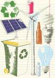 miljöbeskyddteckningar royaltyfri illustrationer