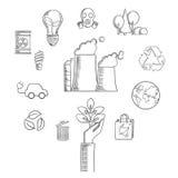 Miljön och ekologiskt beskydd skissar Arkivbild