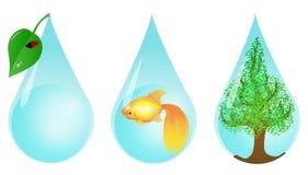 Miljövänliga vattendroppar Arkivbild