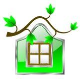 Symbol för hem för Eco vänskapsmatchgräsplan Royaltyfria Bilder