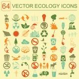 Miljö ekologisymbolsuppsättning Miljö- risker, ekosystem Royaltyfri Bild