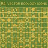 Miljö ekologisymbolsuppsättning Miljö- risker, ekosystem Royaltyfria Bilder