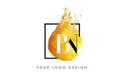 MILJARD Gouden Brief Logo Painted Brush Texture Strokes Stock Afbeelding