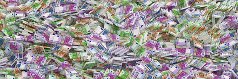 Miljoenen Euro - Euro Bankbiljetten Stock Afbeeldingen