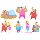 Miljonär Rich Man Funny Cartoon Character och hans pengarsamling av livsstillägen vektor illustrationer