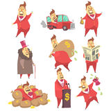 Miljonär Rich Man Funny Cartoon Character och hans pengaruppsättning av livsstillägen vektor illustrationer