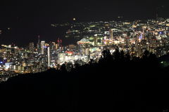10 miljon dollar nattsikt av Kobe Royaltyfria Bilder