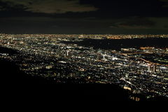 10 miljon dollar nattsikt av Kobe Arkivbild