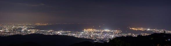 10 miljon dollar nattsikt. KOBE. JAPAN Arkivfoton