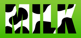 Milk. Vector illustration with spotted MILK letters - black white cow - on grass green background Stock Image