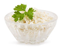 Milk. Cottage cheese in a crystal plate Stock Photo