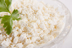 Milk. Cottage cheese in a crystal plate Royalty Free Stock Photos