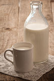Milk. Photo of milk in a transparent bottle and a ceramic mug on cloth stock images