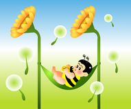 Milk. Vector illustration for a baby bee drinking milk on a swing Royalty Free Stock Images
