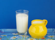 Milk. In glass and jug  on tray on colour background Stock Photos