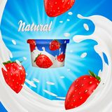 Milk ad or 3d strawberry yogurt flavour promotion. milk splash with fruits  on blue. instant oatmeal advertising. Open field background, 3d illustration Royalty Free Stock Photography