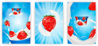 Milk ad or 3d strawberry yogurt flavour promotion set. milk splash with fruits  on blue background. instant. Oatmeal advertising, open field background, 3d Stock Photo