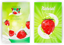 Milk ad or 3d strawberry yogurt flavour promotion set. milk splash with fruits isolated on green nature background. Instant oatmeal advertising, open field Royalty Free Stock Image