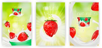 Milk ad or 3d strawberry yogurt flavour promotion set. milk splash with fruits isolated on green nature background. Instant oatmeal advertising, open field Royalty Free Stock Photos