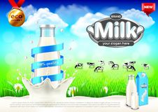 Milk ads. Bottle in splash and rural landscape vector background Royalty Free Stock Photography