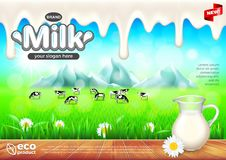 Milk ads. Jug on wooden table, green field vector background. Milk ads. Jug on wooden table, green field background. 3d illustration Royalty Free Stock Photography
