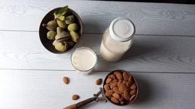 Milk and almond, healthy food royalty free stock images