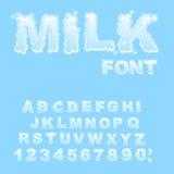 Milk Alphabet. white liquid letters. Fluid lettring. cream ABC o Stock Photo