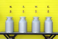 Milk aluminium can tank. Dairy product industry milk aluminuim can tank stock photo