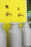 Milk aluminuim can tank. Dairy product industry milk aluminuim can tank stock images