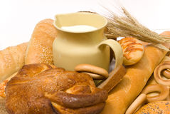 Milk And Bread Stock Photography