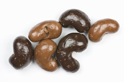 Milk And Dark Chocolate Cashews Stock Photo