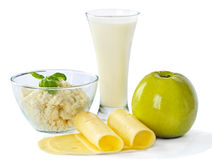 Milk and apple Royalty Free Stock Images