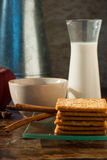 Milk , apple  and Biscuits with black coffee in the morning. Stock Photos