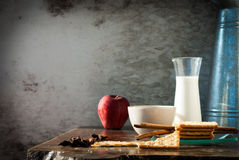 Milk , apple  and Biscuits with black coffee in the morning. Stock Images