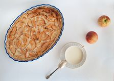 Milk with apples and apple pie Royalty Free Stock Photos