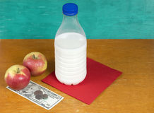 Milk, apples and money Royalty Free Stock Photography