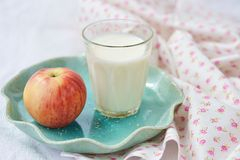 Milk and apples Stock Photo