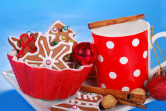 Milk and assortment of gingerbread cookies for santa Stock Photography