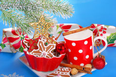 Milk and assortment of gingerbread cookies for santa Stock Photo