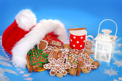 Milk and assortment of gingerbread cookies for santa Royalty Free Stock Photos