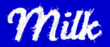 Milk background. Background of word milk written in white liquid effect with blue background Stock Images