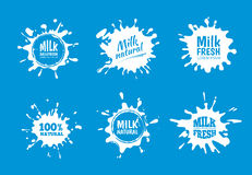 Milk badges vector set. White Splash and blot design. Isolate on blue background. Clean emblems of milk with place for your text vector illustration