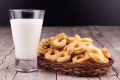 Milk And Bagels Stock Images