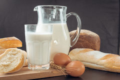 Milk and bakery products Stock Images