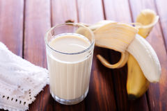 Milk with banana Royalty Free Stock Photo