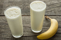 Milk with banana Royalty Free Stock Photos