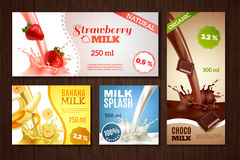 Milk Banners Set Royalty Free Stock Image