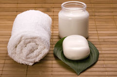 Milk bath. white spa Stock Image