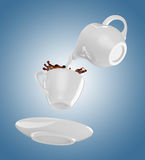 Milk being poured into small cup of coffee. 3d. Milk being poured into small cup of coffee. Blue background. 3d rendering Royalty Free Stock Photos