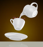 Milk being poured into small cup of coffee. 3d. Rendering Royalty Free Stock Photos